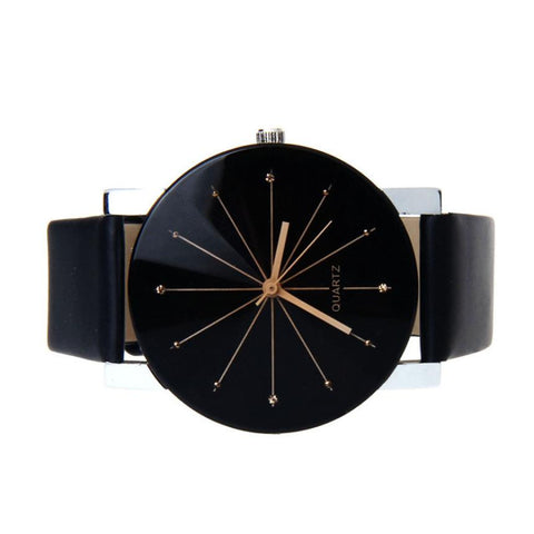 accurate timepiece for fashion conscious men Quartz Big Dial Watch Leather Band