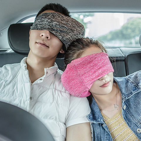relaxing in the car with Travelsmart Neck Support Pillow & Eye Mask