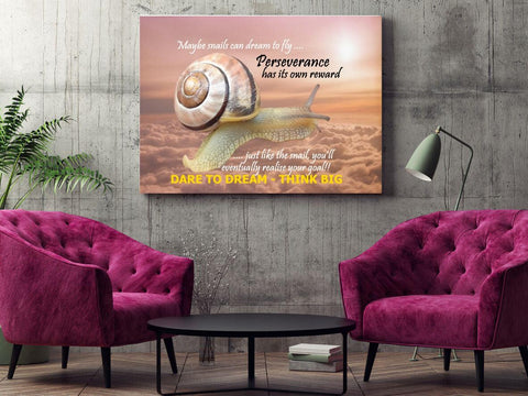 "Canvas Wall Art ""Perseverance"" inspirational motivational success canvas print in sales office"