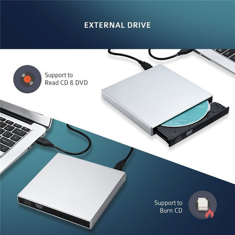 External CD-RW Burner DVD/CD Reader Player USB for Windows, Mac OS