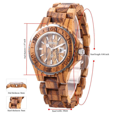 BEWELL Wooden Watch  30M Water Resistance
