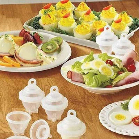 "losts of boiled egg variety with 7 Piece ""Eggies"" Egg Boiler Set"