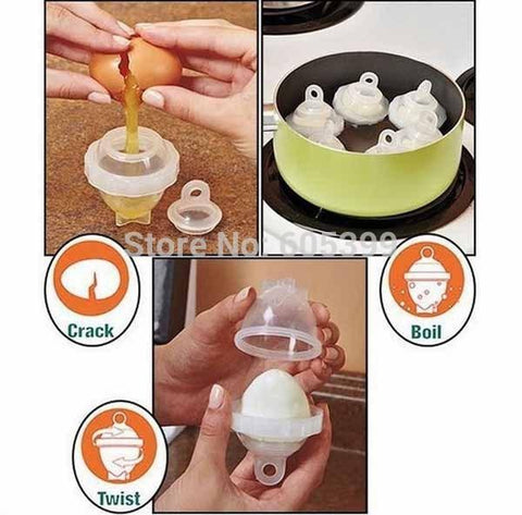 "just crack boil and twist with 7 Piece ""Eggies"" Egg Boiler Set"