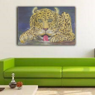 Canvas Prints Wall Home Decor Real Art Paintings Leopard At Waterhole Sam Simonsen Artist