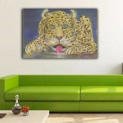 Canvas Prints Wall Home Decor Original Art Paintings Leopard At Waterhole Sam Simonsen Artist