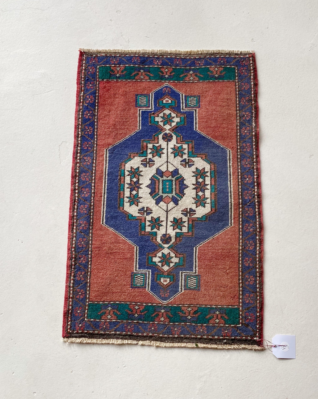 Small doormat size Turkish rug, pile rug, Turkish rug, vintage rug, portland, rug shop, bright colors, wild shaman, area rug, red rug, mini rug, bold color, Portland, Oregon, rug store, rug shop, local shop, flat weave, kilim rug