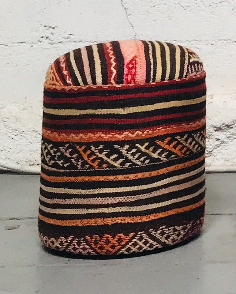 Cylinder Shaped Kilim Pouf (solid)