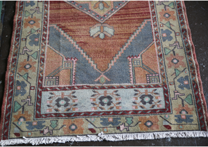 Vintage Faded Anatolian Rug 3.2ftx6.3ft