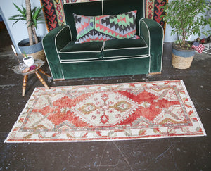 Vintage Turkish Anatolian Rug 2.6ftx5.8ft