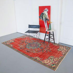 pile rug, turkish rug, vintage rug, portland, rug shop, bright colors, wild shaman, area rug, red rug, worn out rug