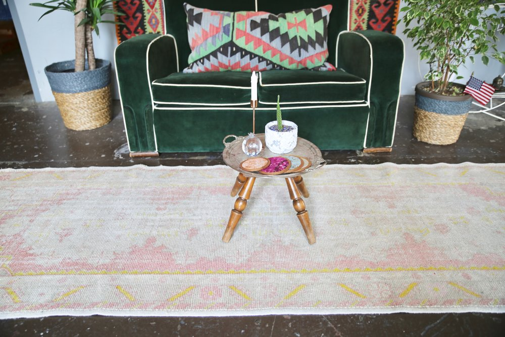 Vintage Turkish Faded Anatolian Runner Rug 3ftx8.10ft