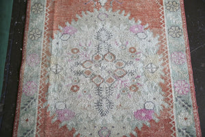Vintage Faded Anatolian Rug 2.11ftx5.8ft