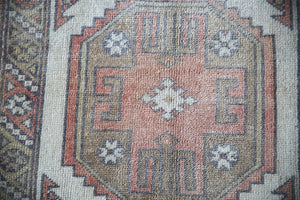 Old Faded Anatolian Turkish Runner Rug 2.7ftx8.2ft