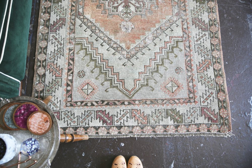 Old Faded Anatolian Turkish Rug 3.8ftx5.10ft