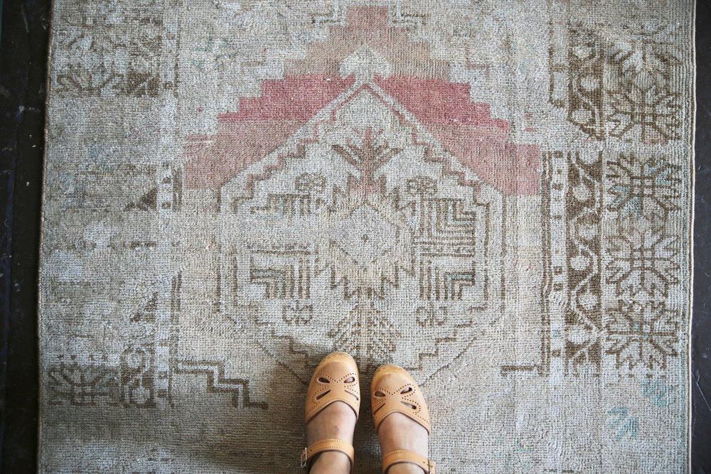 Old Faded Anatolian Rug 3.6tx4.11ft