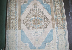 Old Faded Anatolian Rug 3.10ftx5.9ft