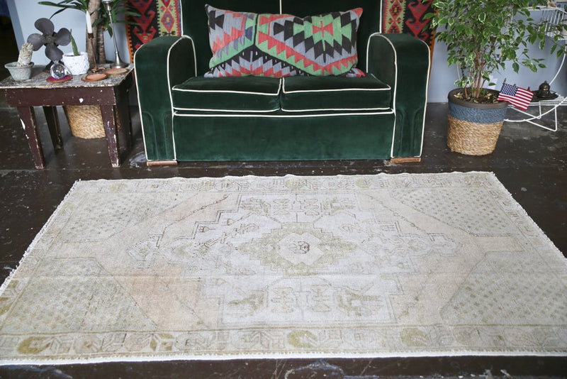 Vintage Faded Anatolian Rug 3.9ftx6.4ft