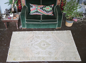 Vintage Faded Anatolian Rug 3.9ftx6.5ft