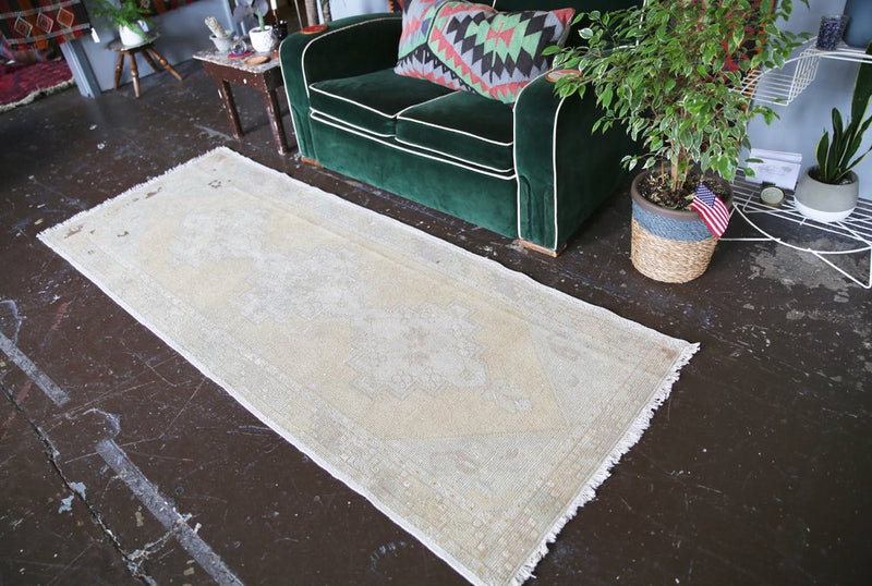 Vintage Turkish Faded Anatolian Runner Rug 3ftx8ft