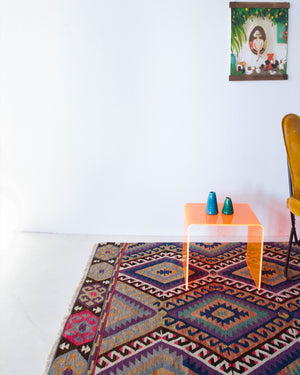 Vintage kilim rug in living room setting, bright colors, wild shaman, soft rug, bold color, Portland, Oregon, rug store, rug shop, local shop, vintage rug, modern kilim, warm colors