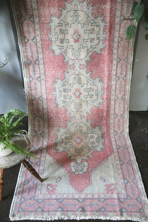 Vintage Turkish Faded Anatolian Runner Rug 3ftx9.6ft