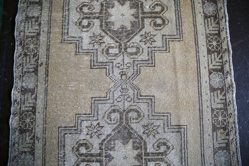 Vintage Turkish Faded Anatolian Runner Rug 3.2ftx10.8ft