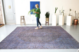 Vintage Overdyed Rug in Navy/Gray 10ftx10.6ft