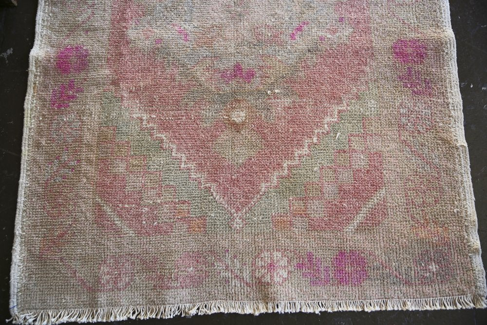 Vintage Turkish Faded Anatolian Runner Rug 3.3ftx9.5ft