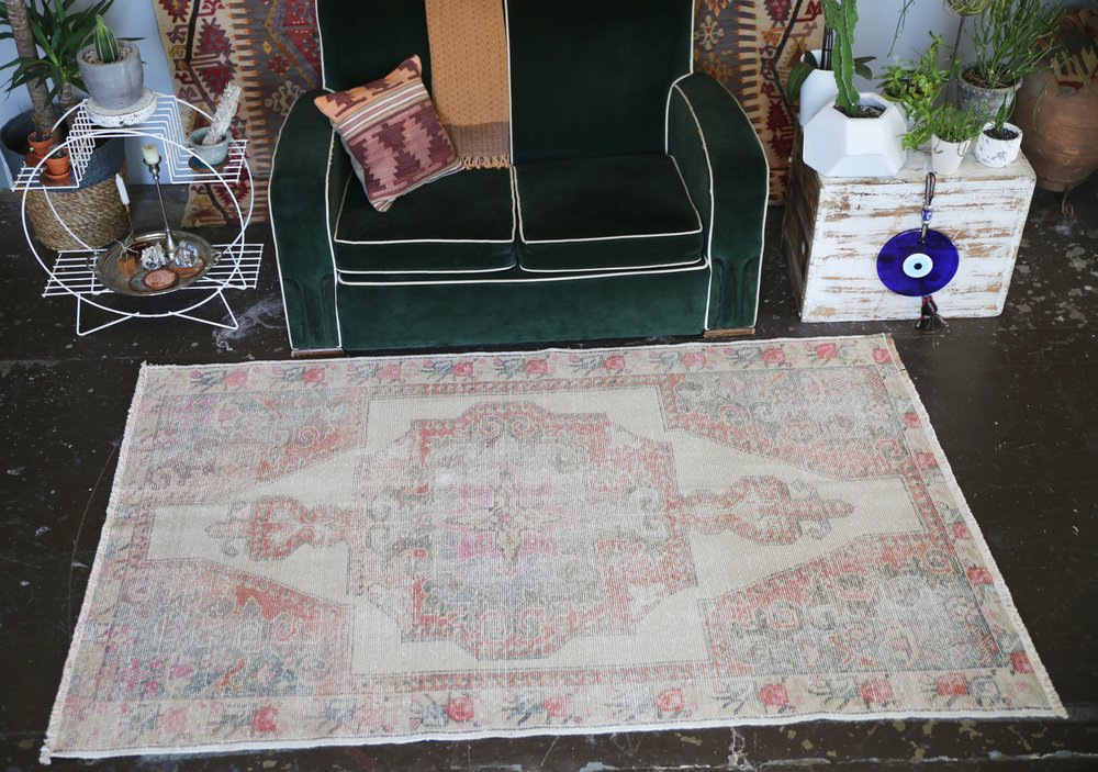 Vintage Faded Anatolian Turkish Rug 4.4ftx7ft