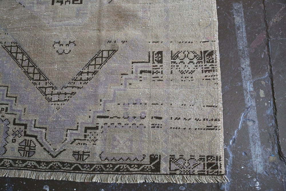 Old Faded Anatolian Turkish Rug 4ftx5.7ft