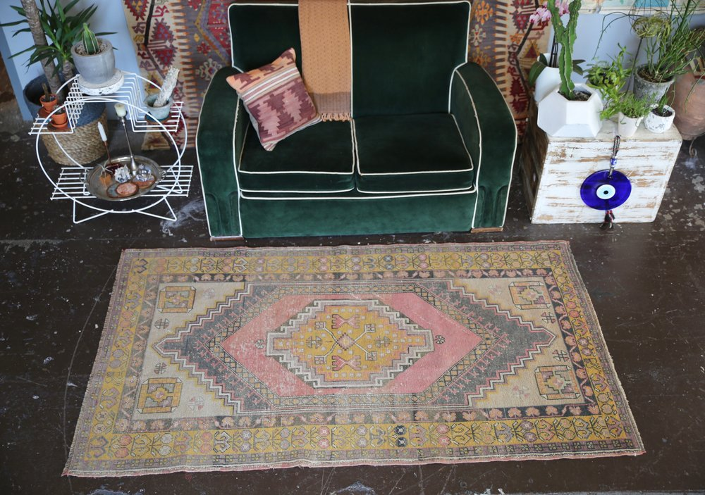 Vintage Faded Anatolian Rug 3.8ftx6.7ft