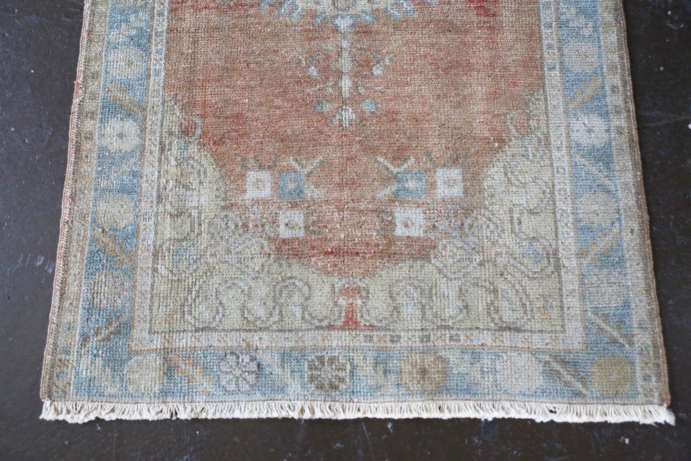 Old Faded Anatolian Rug 2.11ftx6.8ft