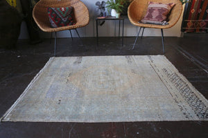 Old Faded Anatolian Rug 3.6ftx4.8ft