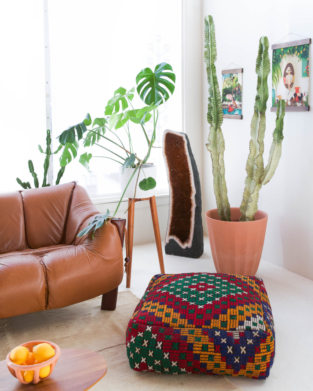 Foor pouf in a living room setting, pillow, turkish pillow, kilim pillow, home decor, decorative pillow, sham, rug pillow, decor, home decor, pouf, floor cushion, cushion, Portland, rugshop, Oregon, Wild Shaman, ottoman