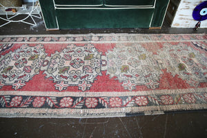 Old Turkish Faded Anatolian Runner Rug 3.1ftx8ft