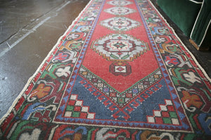 Vintage Turkish Faded Anatolian Runner Rug 3ftx9.10ft