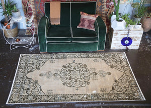 Old Faded Anatolian Turkish Rug 4ftx7.1ft