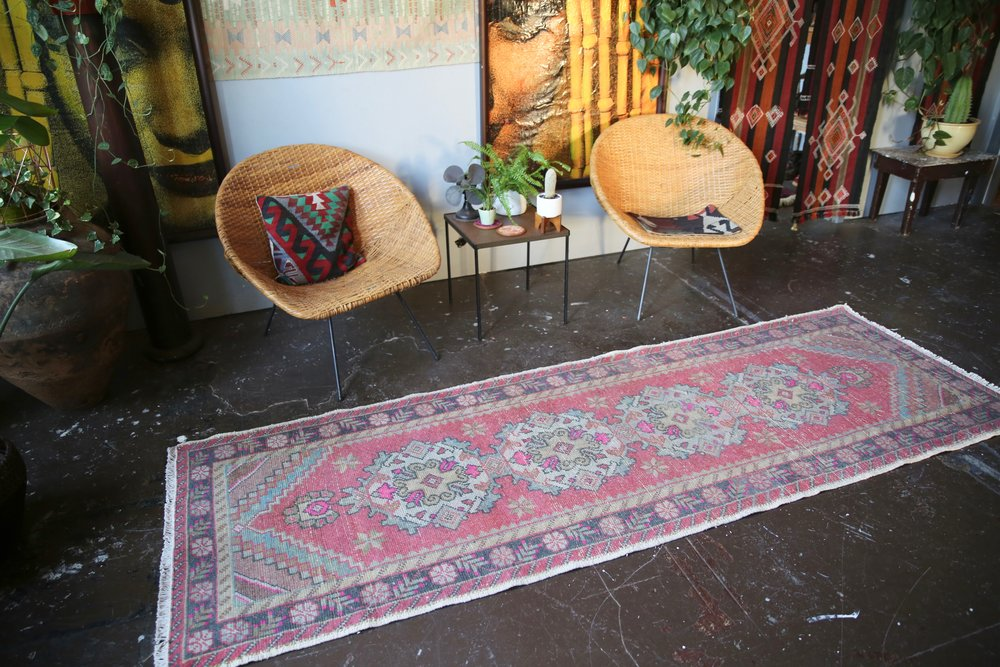 Vintage Turkish Faded Anatolian Runner Rug 3ftx9ft