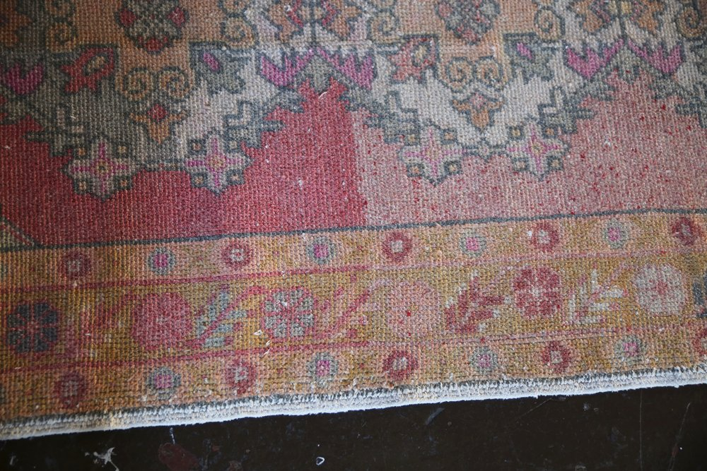 Vintage Turkish Faded Anatolian Runner Rug 3.3ftx8.5ft