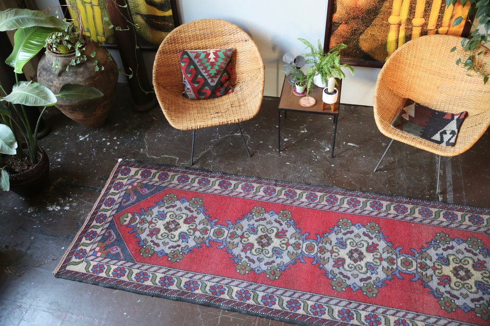 Old Turkish Faded Anatolian Runner Rug 3.3ftx9.10ft