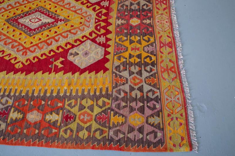 orange, green, bright color, antique, oushak rug, portland rug shop, rug store, wild shaman