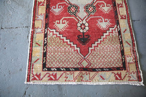 Vintage Faded Anatolian Turkish Rug 2.9ft x 5.2ft