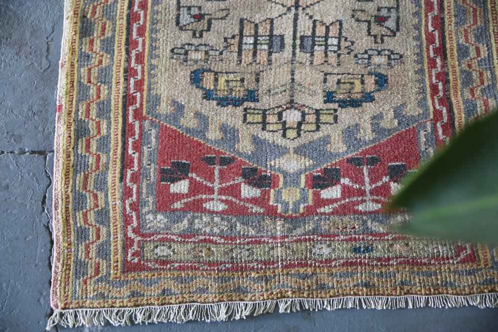 Old Faded Anatolian Rug 2.8ftx4.7ft