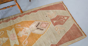 Old Anatolian Kilim 3.2ftx7.5ft