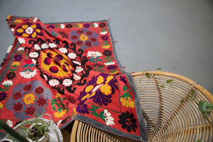 Old double sided cotton Suzani Throw in blood orange
