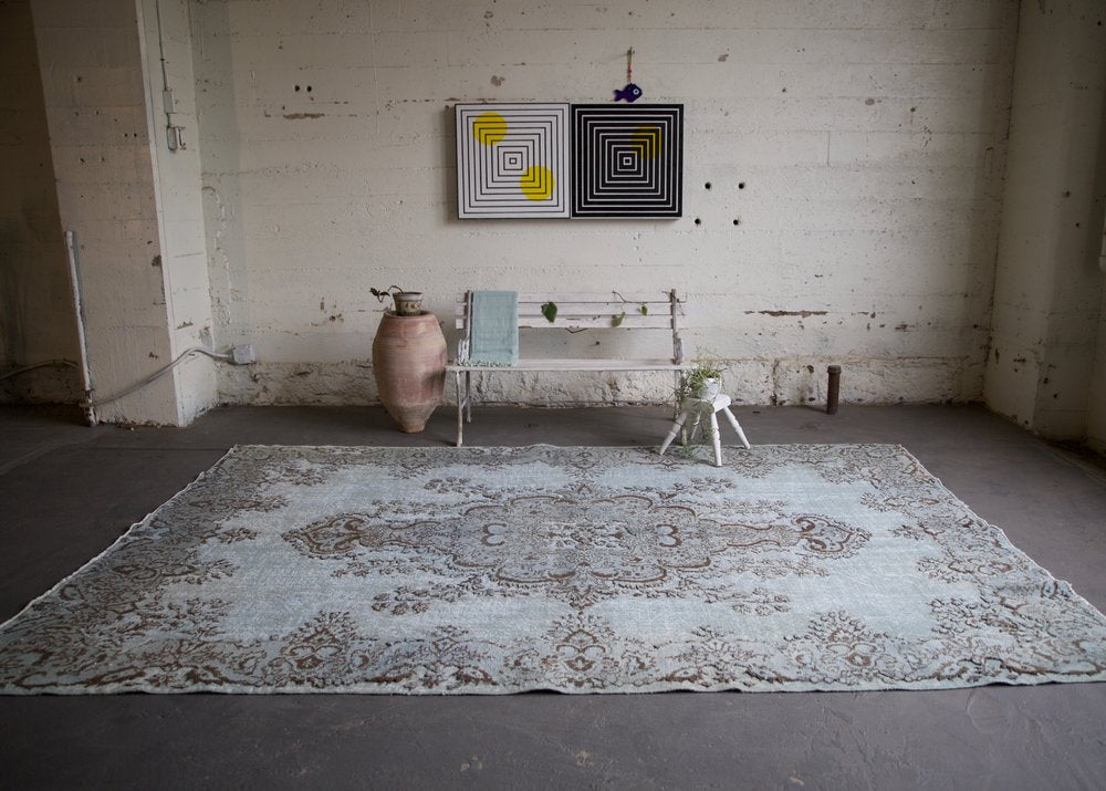 Vintage Overdyed Isparta Rug in light blue 7ftx10.6ft
