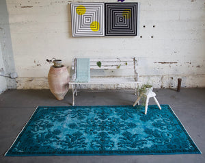 Vintage Overdyed Isparta Rug in deep blue 4ftx7ft