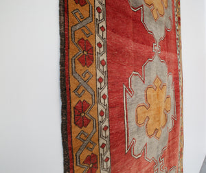 Old Anatolian Runner Rug 4.10ftx11ft