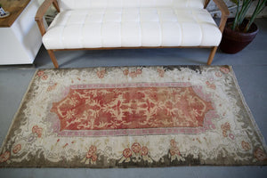 Vintage Faded Anatolian Turkish Rug 3.1ftx6.3ft