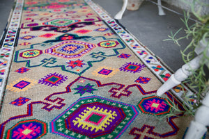 Vintage Kurdish Herki Runner 2.10ftx12.5ft